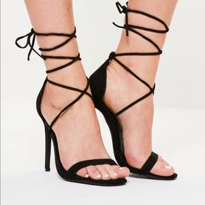 Missguided black lace up heel